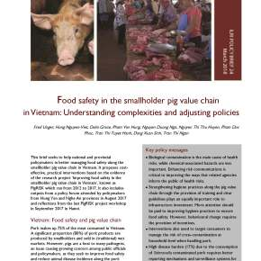ILRI policy brief on food safety in the smallholder pig value chain in Vietnam